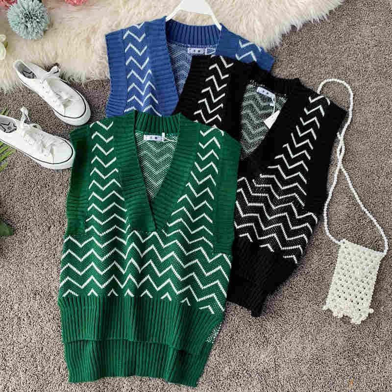 2019 가을 겨울 새로운 남성 소녀 스웨터 봄 가을 아기 귀여운 v-목 스트라이프 뜨개질 스웨터 조끼 어린이 캐주얼 의류