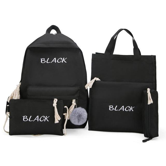 4 pcs/Set Women Backpacks Set Canvas Letter Teenager School Backpacks Casual Style Women Backpack Pen Bags sac a dos femme 2019