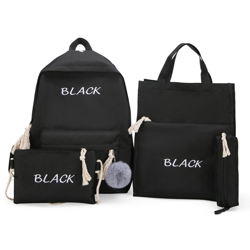 4 pçs/set conjunto de mochilas femininas lona carta adolescente escola mochilas estilo casual mochila feminina caneta sacos sac a dos femme 2019