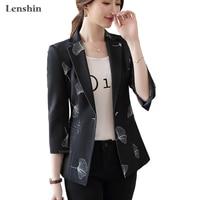 Lenshin Women Elegant Print Jacket Three Quarte Blazer Fashion Work Wear Keep Slim Office Lady Coat Outwear Single Button