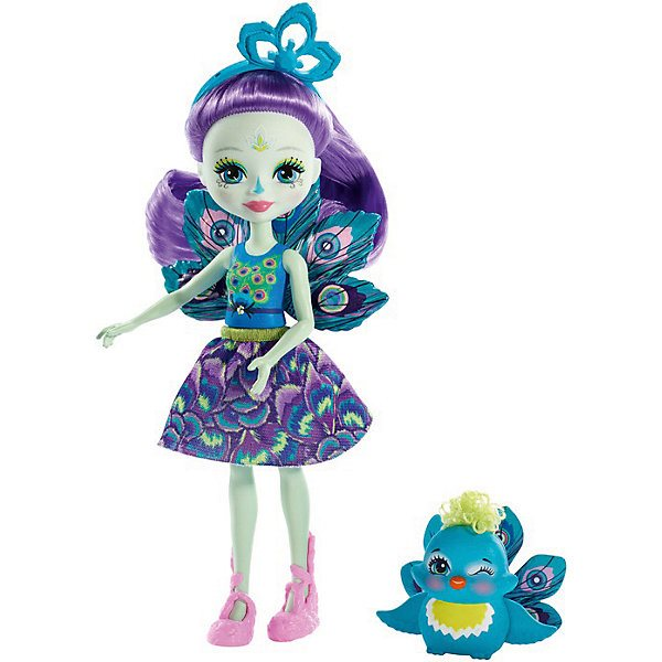 Doll With Your Favorite Animal Enchantimals, Patter Peacock And Flap
