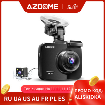 AZDOME GS63H 4K/2880*2160P WiFi Car DVRs Recorder Dash Cam Dual Lens Vehicle Rear Camera Built in GPS WDR Night Vision Dashcam image