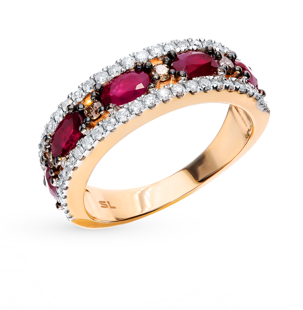 Gold Ring With Cognac Diamonds, Rubies And Diamonds Sunlight Sample 585