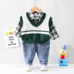 HYLKIDHUOSE 가을 어린이 키즈 의류 복장 아기 소년 의류 세트 신사 스타일 유아 니트 조끼 양복 셔츠 청바지
