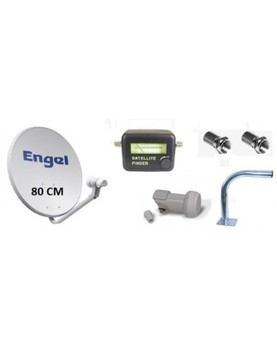 Kit antena parabólica Engel 80 cm+LNB+soporte mini+localizador+conectores F