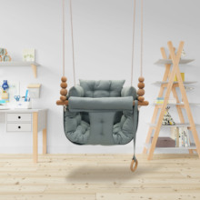 Baby canvas swing chair hanging wooden children swing small basket with lid  stain resistant non-slip fabric hammock