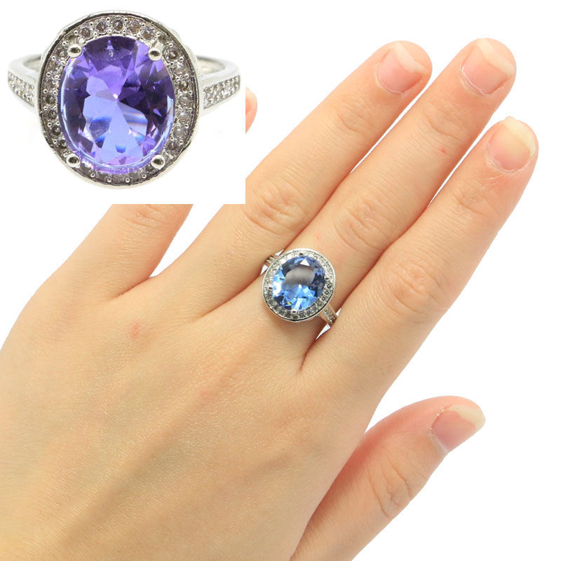 16x15mm Beautiful Oval Shape Created Color Changing Alexandrite & Topaz CZ Silver Rings