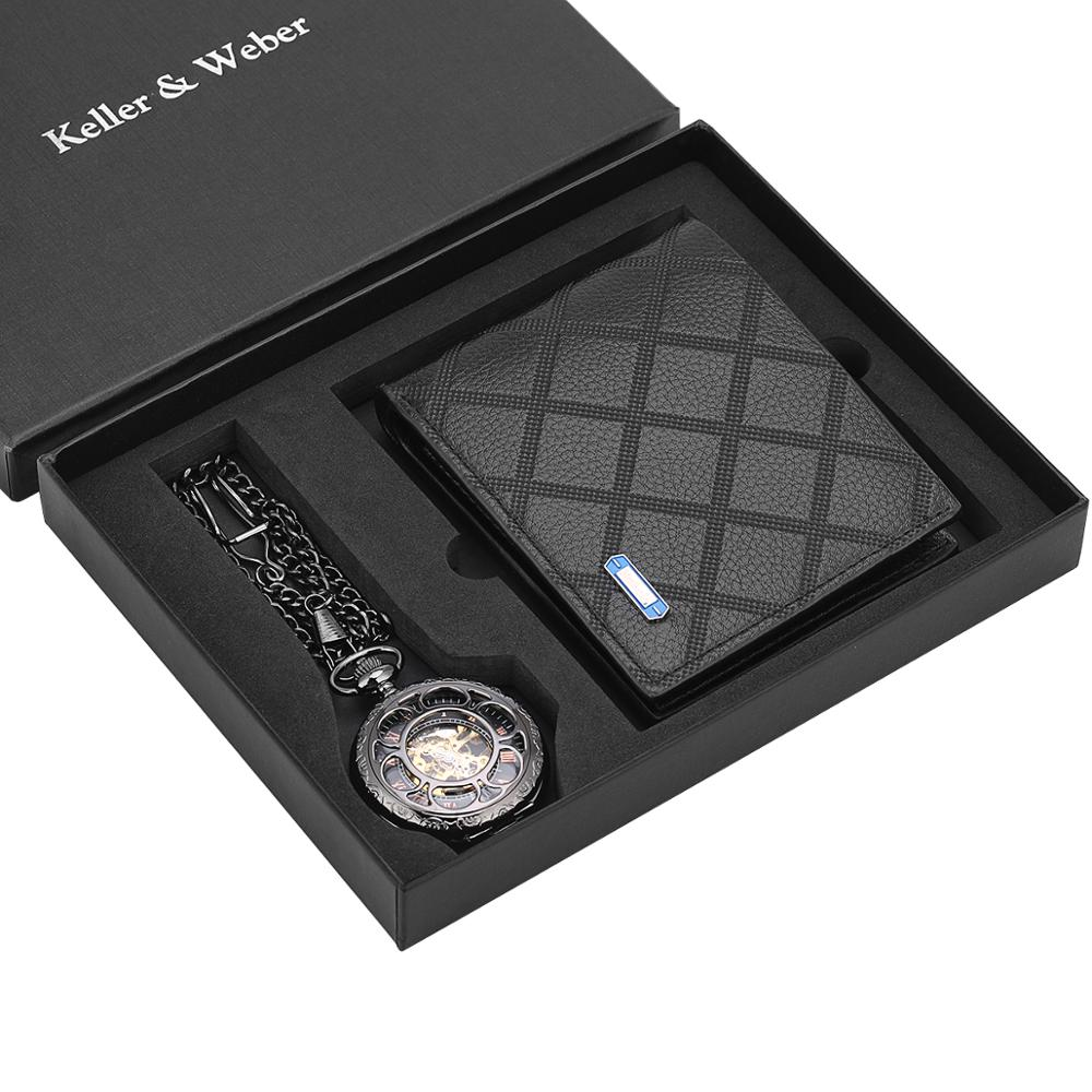Pocket Watch Wallet Set Hollowed Out Mechanical Hand Wind Pocket Watch Leather Wallet For Father Husband Boyfriends