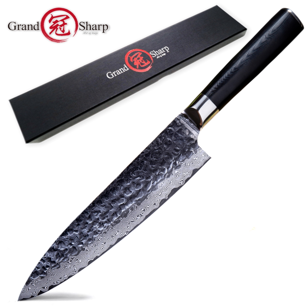 Kitchen Knife Hammered Cooking-Tools G10-Handle Japanese Damascus Steel AUS10 Best Black
