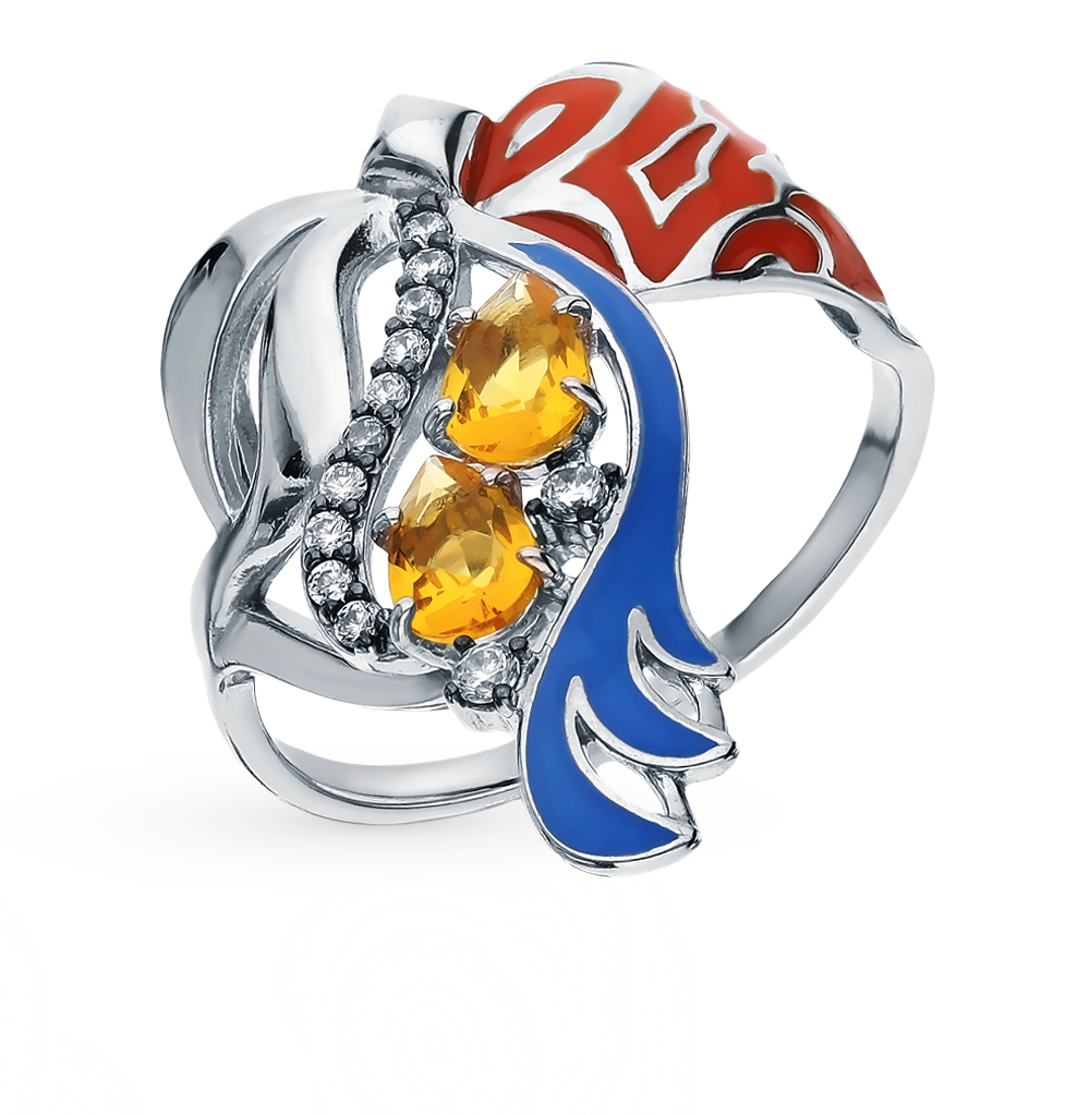 Silver Ring With Cubic Zirconia And Citrines SUNLIGHT Test 925