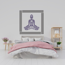 New Meditation Buddha Lotus Wall Sticker Decal With Customized Color of Frame and Home Decor A0063