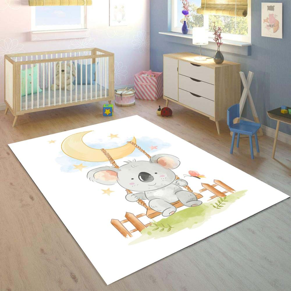 Else Moon Hanging Cute Sweet Koala Animal 3d Print Non Slip Microfiber Children Kids Room Decorative Area Rug Kids  Mat