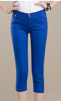 YIL246 Women's Capris Summer m002 Pants For Women Candy Pantalon Femme High Waist Black
