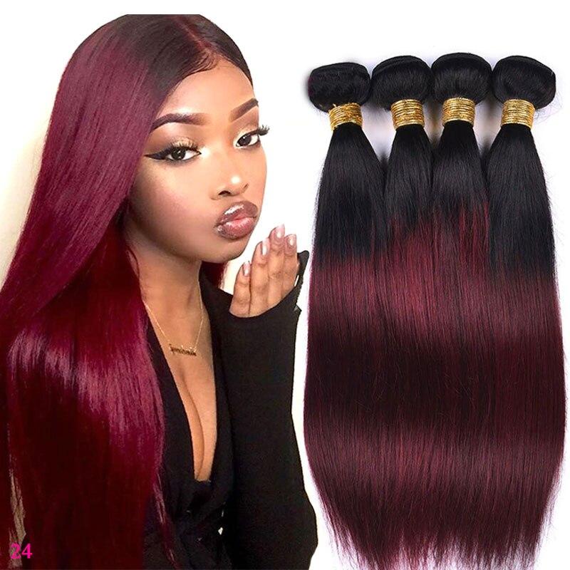 Extensiones de pelo humano con degradado 1B 99J paquetes de pelo recto brasileño Remy armadura del pelo 3 4 paquetes de vino rojo cabello humano para hacer la peluca