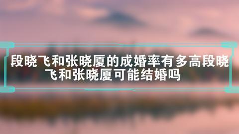 段晓飞和张晓厦的成婚率有多高段晓飞和张晓厦可能结婚吗