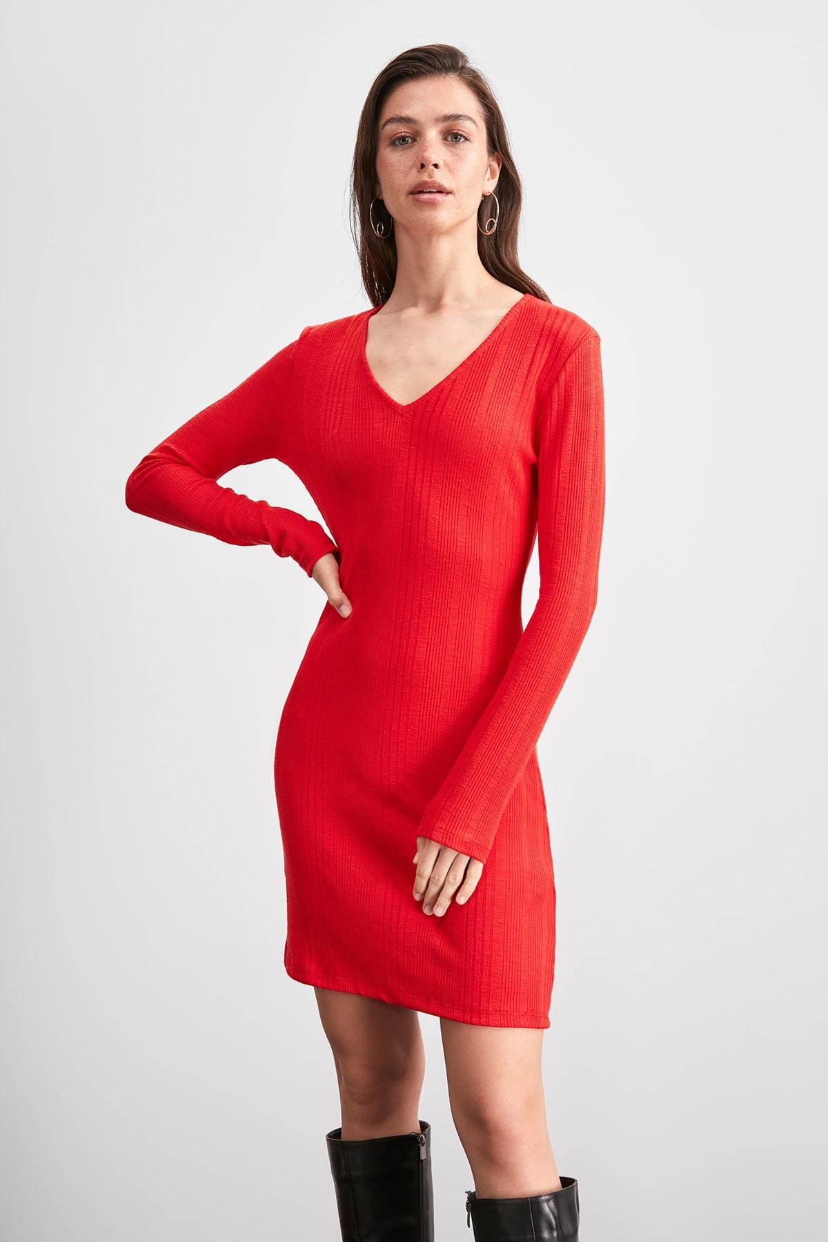 Trendyol Ribbed Knit Dress TWOAW20EL1551