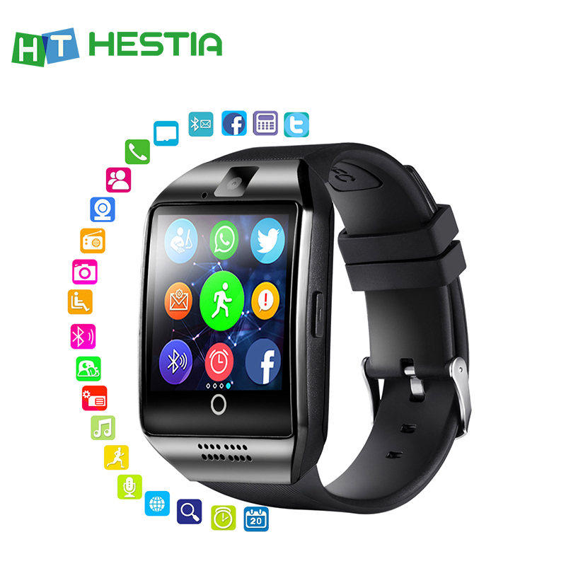 Bluetooth Smart Watch With Camera Q18 Fitness Tracker Touch Screen Support APP Download TF Sim Card Sport Watch For Android image