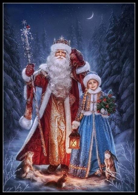 Borduurwerk Geteld Borduurpakketten Handwerken Ambachten 14 ct DMC Kleur DIY Arts Handgemaakte Decor Kerstman met meisje