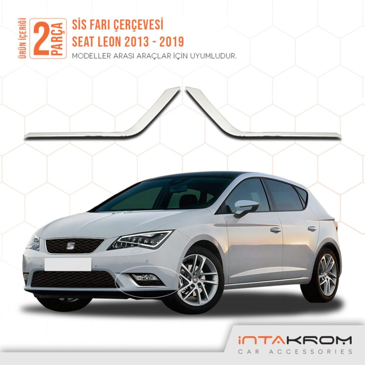 Free Shipping New Style High Quality Easy Montage Front  Bright Chrome 2 Pieces  Front Fog Light Frame For Seat Leon 2013 - 2019