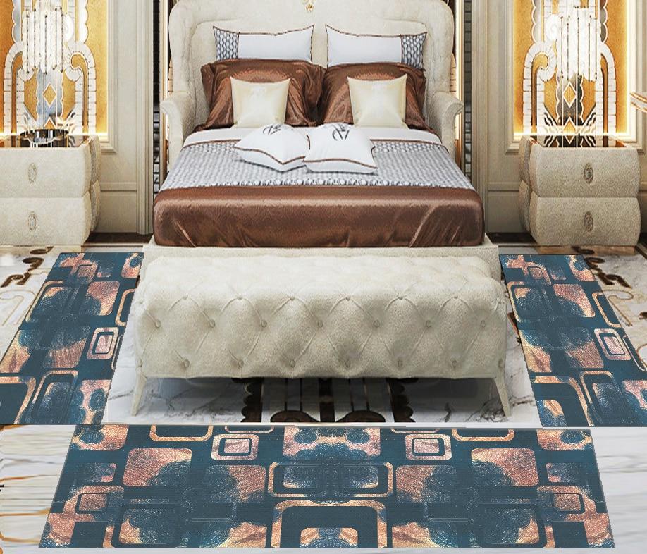Else 3 Piece Green Brown Geometric Square Tiles 3d Print Non Slip Microfiber Washable Decor Bedroom Hallway Area Rug Carpet Set