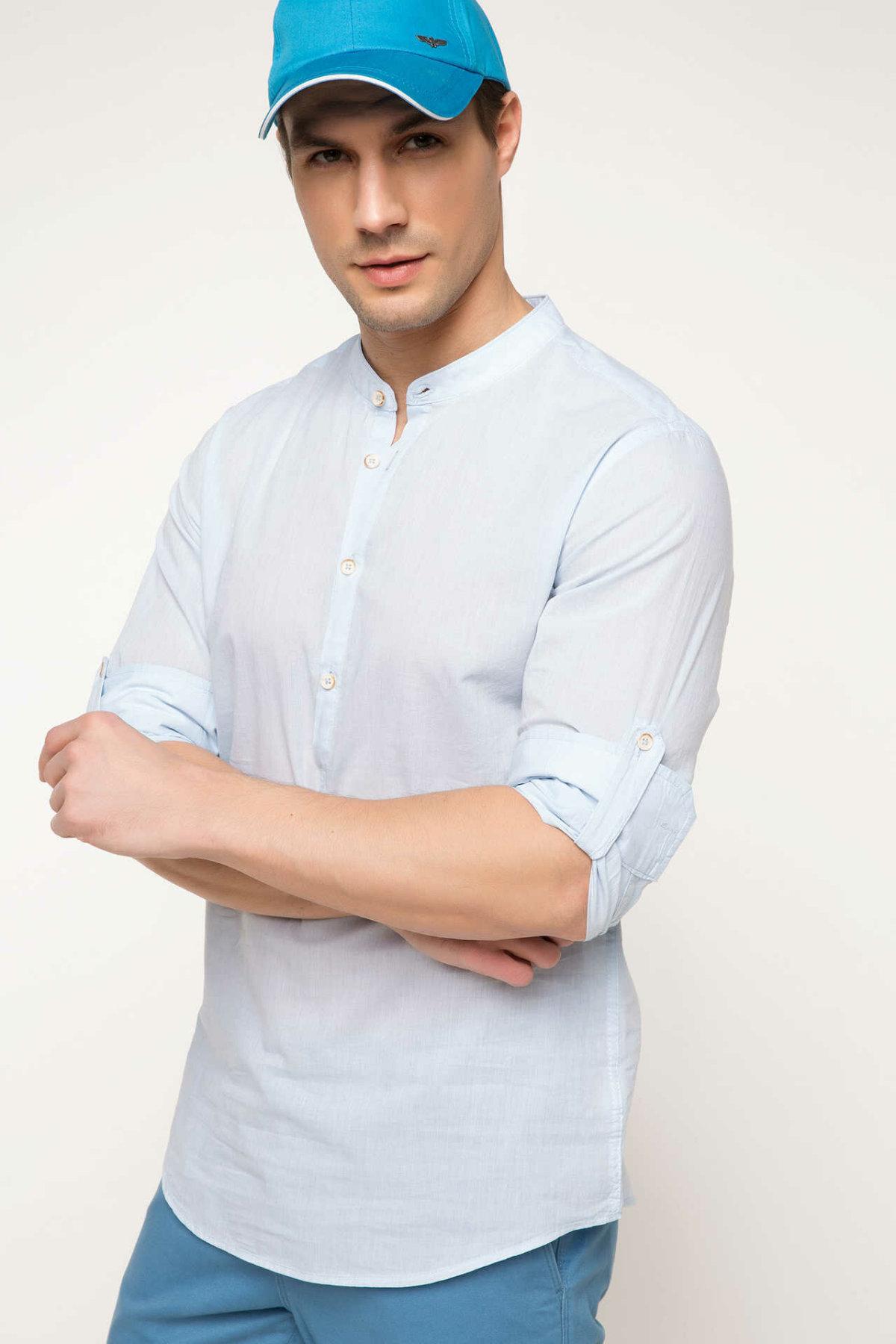 DeFacto Men Fashion Formal White Stand Collar Shirt Woven Top Short Sleeve Shirt Casual Business Wear Top Shirt-G8832AZ17SM