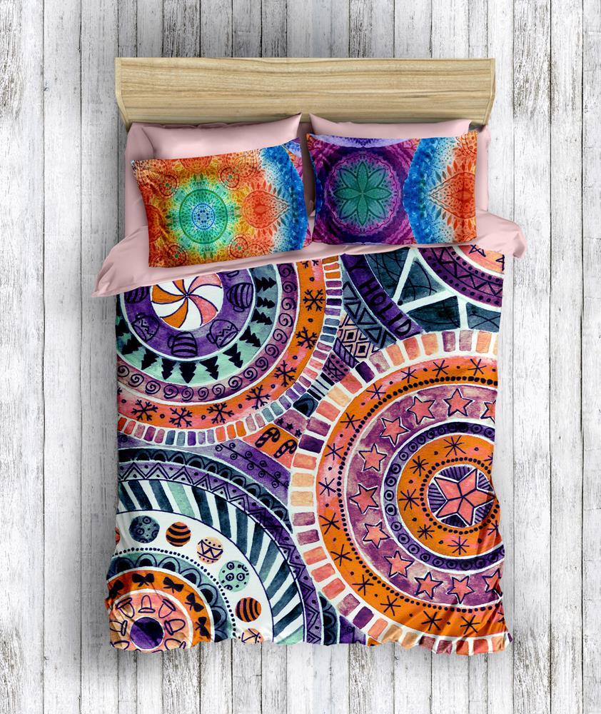 Turkish k3D Double Mandala Concept Bedding Set Comforter Cover Set Bed Duvet Colormix Orange Bed Linen Modern Mandala Design