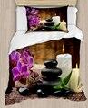 Еще фиолетовые цветы спа камни свечи 4 шт 3D печати хлопок сатин один пододеяльник Постельное белье Подушка Чехол для простыни на кровать