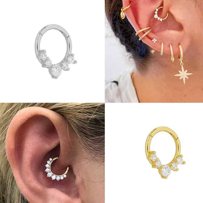 Inmaker 1 Pcs Plata De Ley 925 Punctie Oor Bone Gesp Hoop Earring Voor Lovers 'Stellen Wedding Engagement Fine Jewelry pendiente