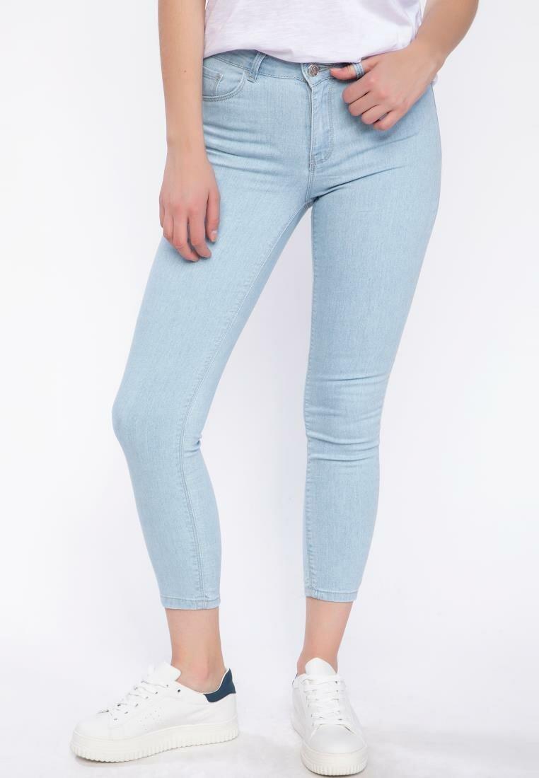 DeFacto Blue Women Mid-waist Skinny Denim Jeans Casual Simple Stretch Pencil Pants -J9129AZ19SPNM63-J9129AZ19SP