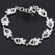 21x10mm Created White Sapphire White CZ Woman's Present Silver Bracelet 6.5-7.5 inch