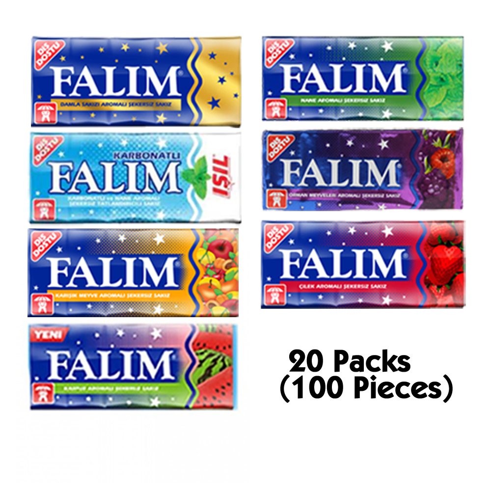 Falım Sugarless Chewing Gum Best Sugar Free Chewing Gum Sugar Free Gum 20 Packs (20x5 = 100 Pieces)