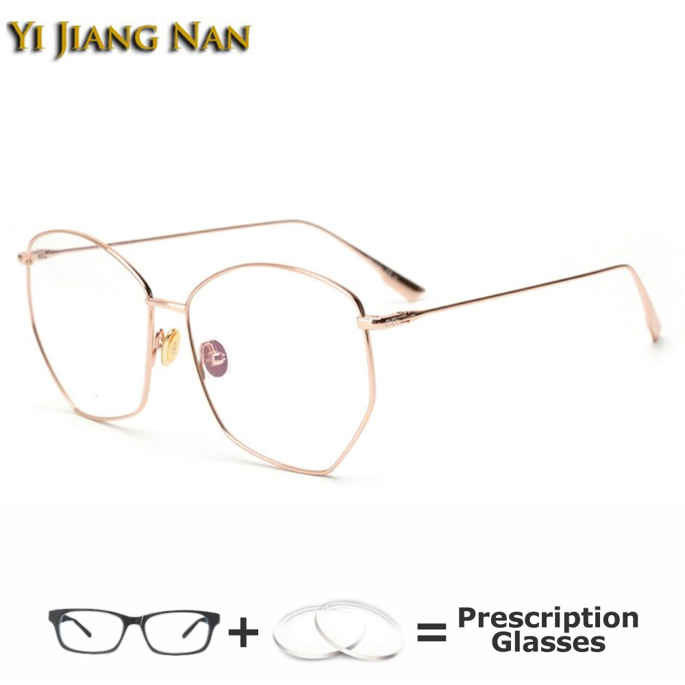 Pentagon Fashion Full Rim Eyeglasses Women Titanium Prescription Glasses Frame Light Eyewear Spectacles for Men image