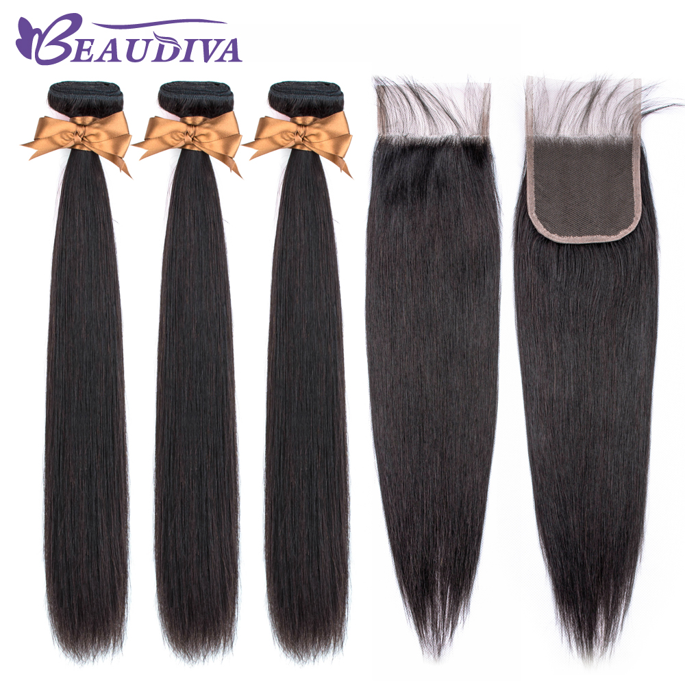 Beaudiva Hair Extension 100% Human Hair Bundles With Closure Brazilian Hair Weave 3 Bundles Straight Bundles With Lace Closure