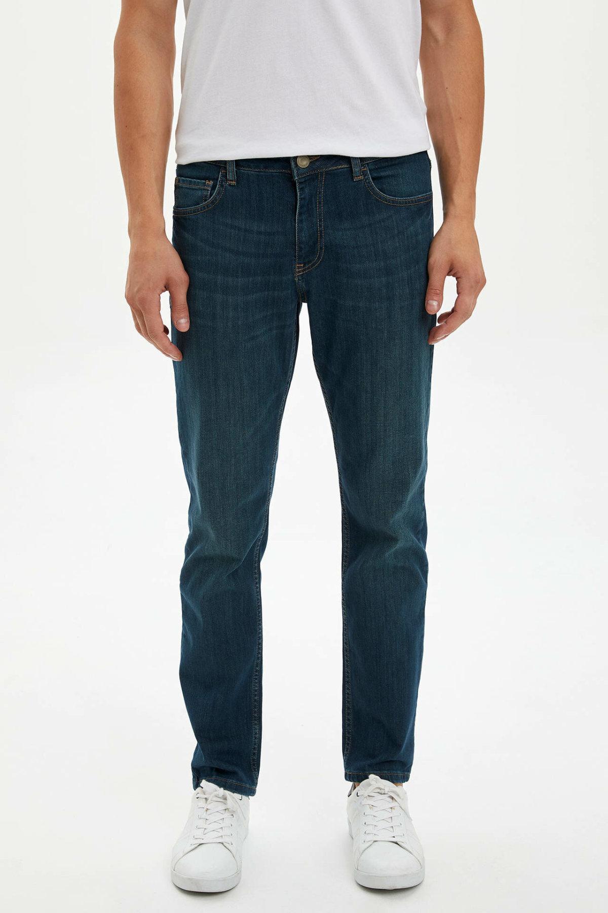 DeFacto Fashion Men's Wash Dark Blue Stretch Jeans Men Elastic Cotton Denim Pants Loose Trousers New Menswear New -L6709AZ19AU