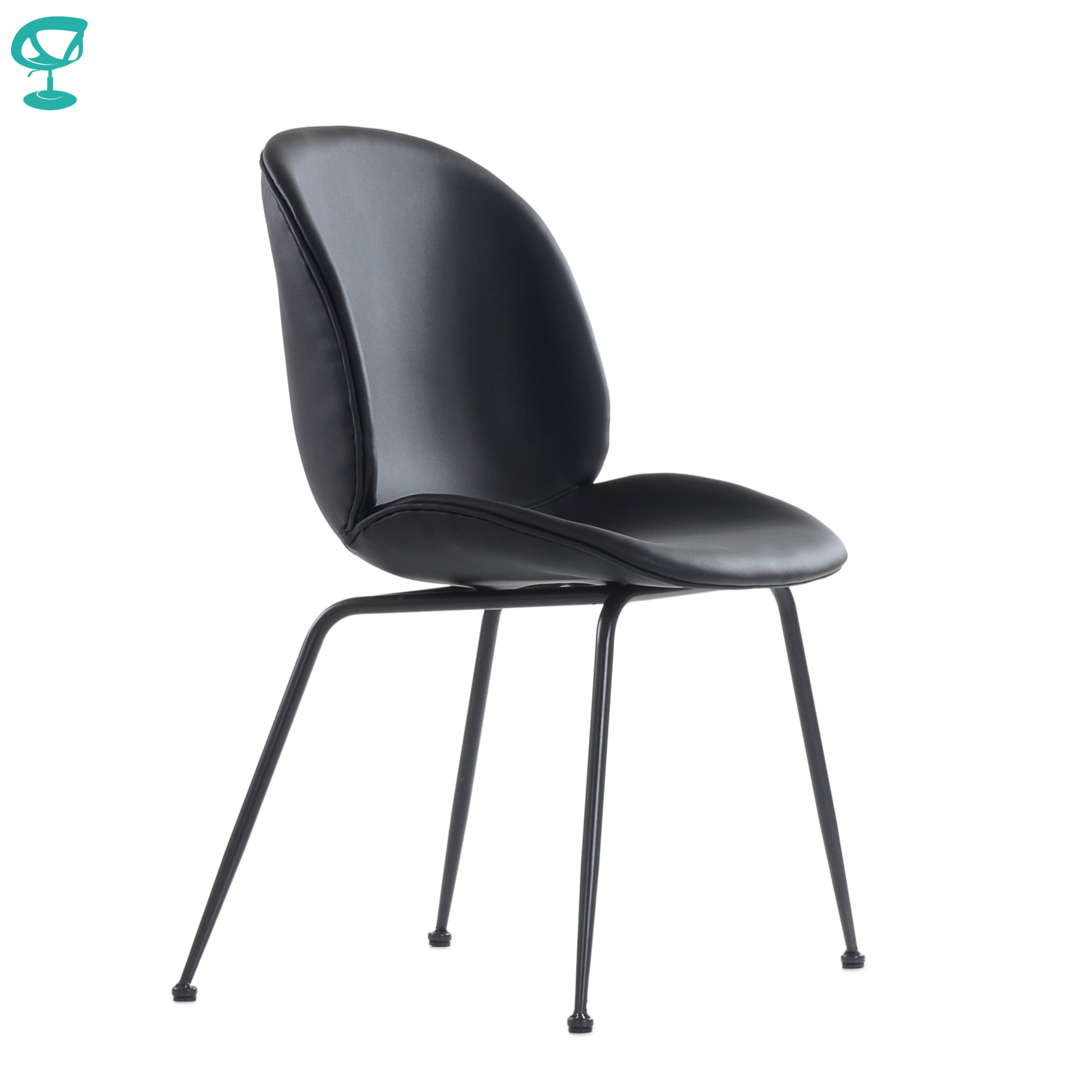 95743 Barneo S-17 Kitchen Chair On Metal Legs Seat Eco-friendly Leather Chair For Living Room Chair Dining Chair Furniture Kitchen