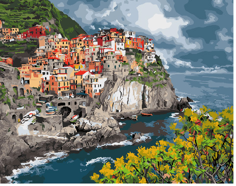 Painting By Numbers GX 29397 Coastal Town 40*50