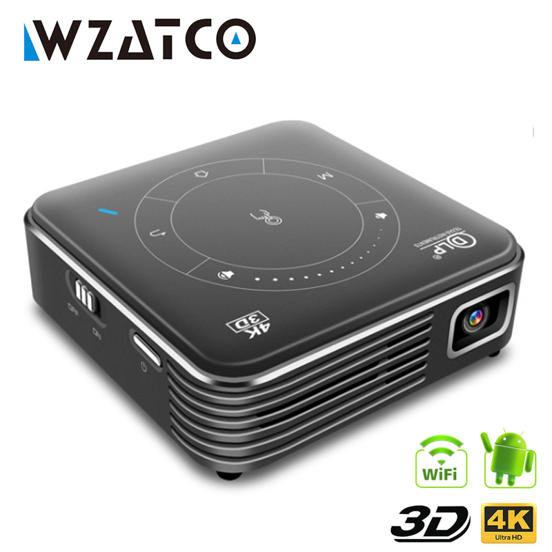 WZATCO T11 Portable Mini DLP 3D Projector HD Android 9.0 For Full 1080P MAX 4K WIFI Mobile Beamer <font><b>LED</b></font> Smart Projector image