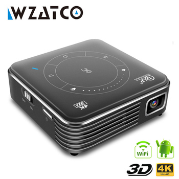 WZATCO T11 Portable Mini DLP 3D Projector HD Android 9.0 For Full 1080P MAX 4K WIFI Mobile Beamer LED Smart Projector