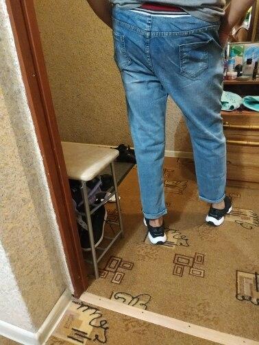Stretch Jeans Femme  Plus Size Lace Up Pants Women Jeans Large Size Denim Elastic Patch Harlan Cuff Pencil Jeans Woman photo review
