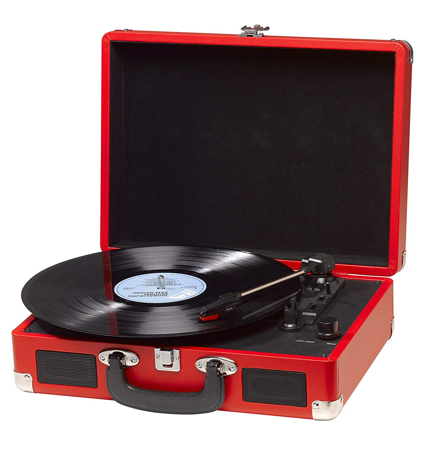 DENVER VPL-120 Turntable With Speakers (2x1W) Record Player Retro Design PC Recording Mode USB Cable Red Color 3 Speeds