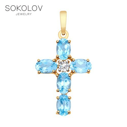 Pendant SOKOLOV Gold With Topaz And Cubic Zirconia Fashion Jewelry 585 Women's Male