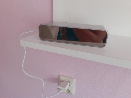 Carregador Despertador sem fio Hora/Data HD Espelho LED Termômetro Digital
