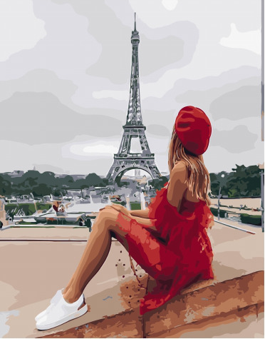 Painting By Numbers PK 45007 Rest At The Eiffel Tower 40*50