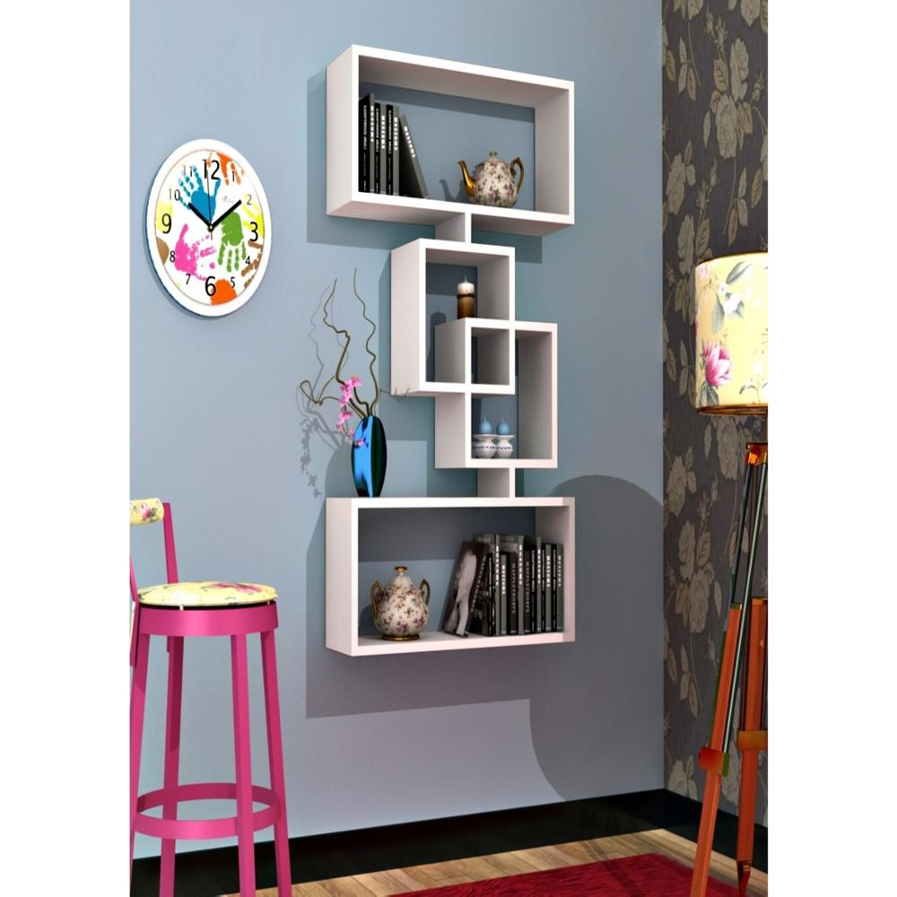 Shelf&Shelf MADE IN TURKEY Modern Shelf 4 Color Options Living Room Wood Wall Book Holder Organizer Bookshelf Rack Bookcase