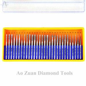 Image 2 - 30 Pcs/Set  Shank 2.35mm or 3mm Diamond Bur Set, Dremel Rotary Tool Drill Bit Set