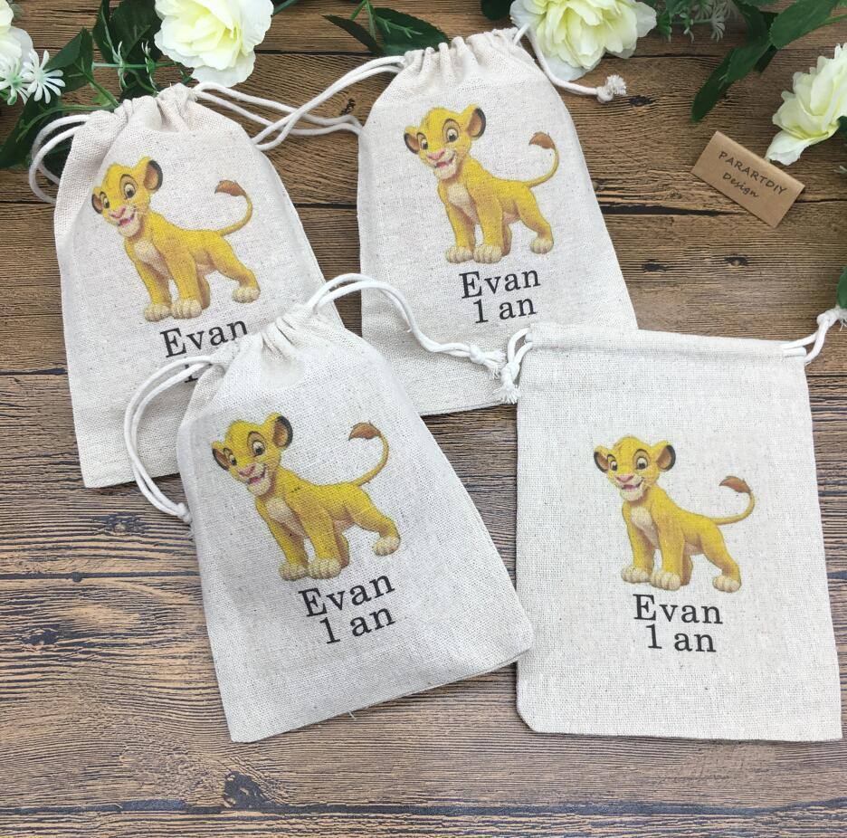 Personalize Any Cartoon Lion Birthday Gift Favor Bags, Baby Shower Thank You Gift Bags, Christening Baptism Gift Bags