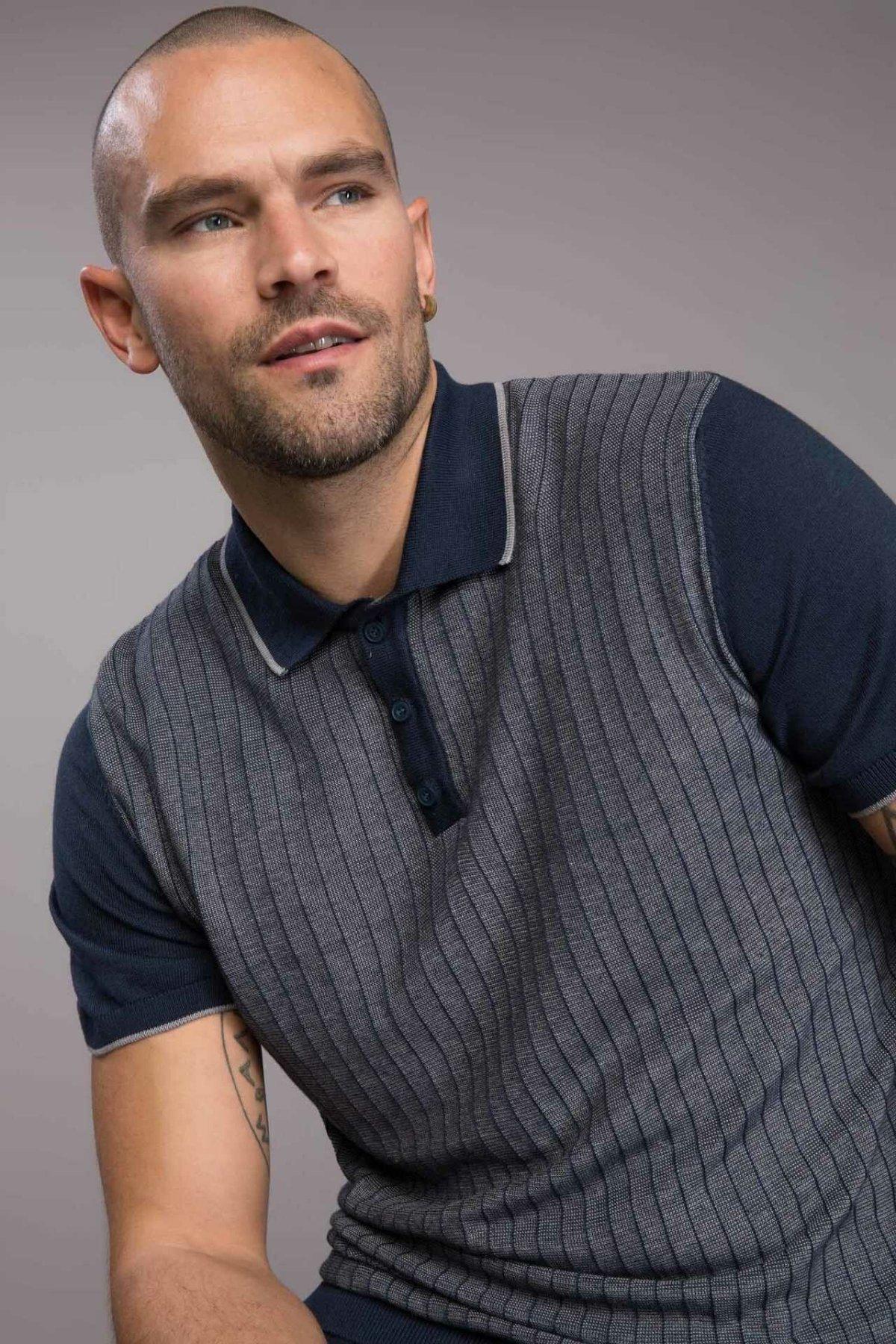 DeFacto Slim Fit Smart Casual Polo Men Summer Top Tees Dark Color Short Sleeve Male Shirt-I3645AZ18SP