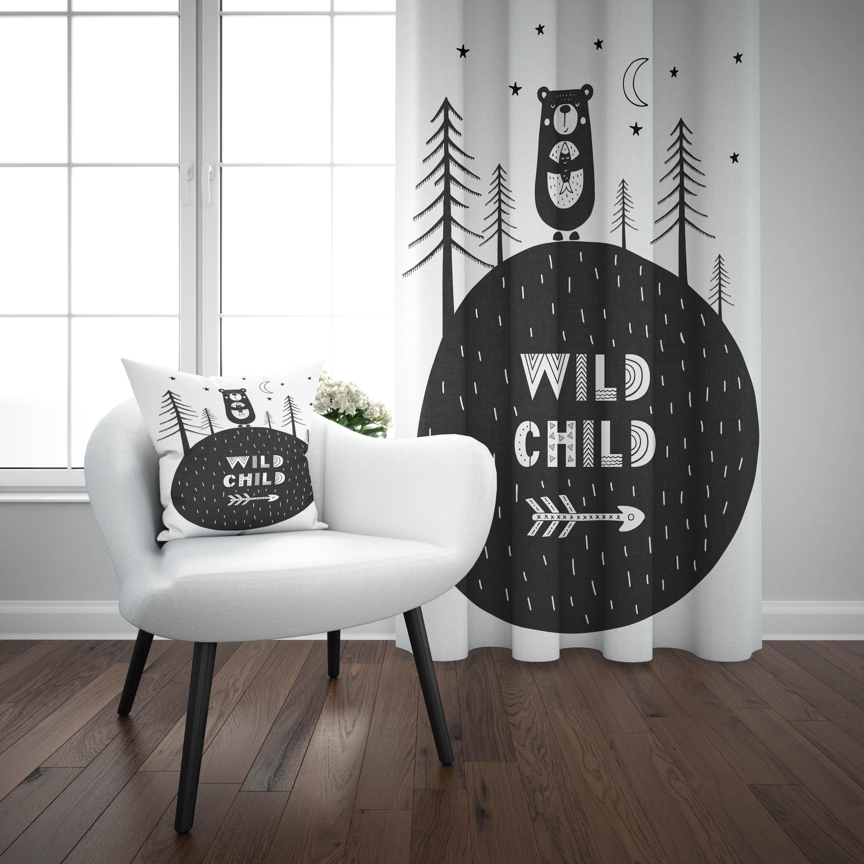 Else Black White Jungle Bears Wild Child Nordic 3d Print Kids Baby Children Window Panel Set Curtain Combine Gift Pillow Case