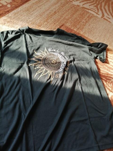 2020 women casual fashion t-shirt letter sun moon photo review
