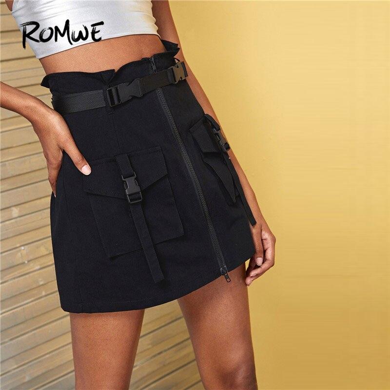 ROMWE Dual Pocket Zip Front Black Skirt Women Bomber Mid Waist Summer Autumn Mini Streetwear Boylish ALine Short